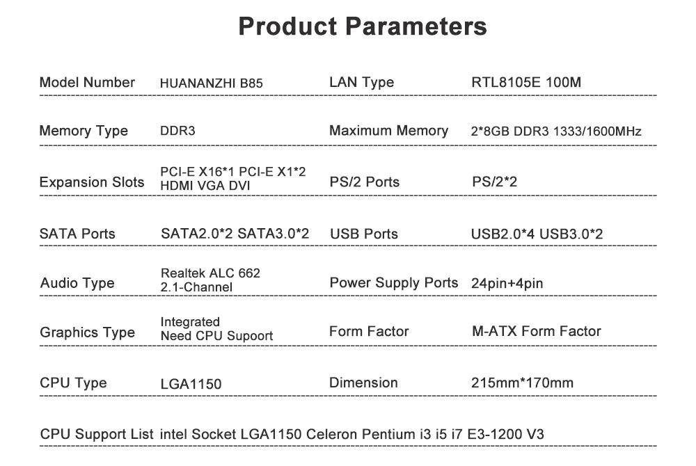 HUANAN ZHI B85 M-ATX Motherboard B85 For Intel LGA 1150 i3 i5 i7 E3 DDR3  1333/1600MHz 16GB SATA3 0 USB3 0 VGA DVI HDMI