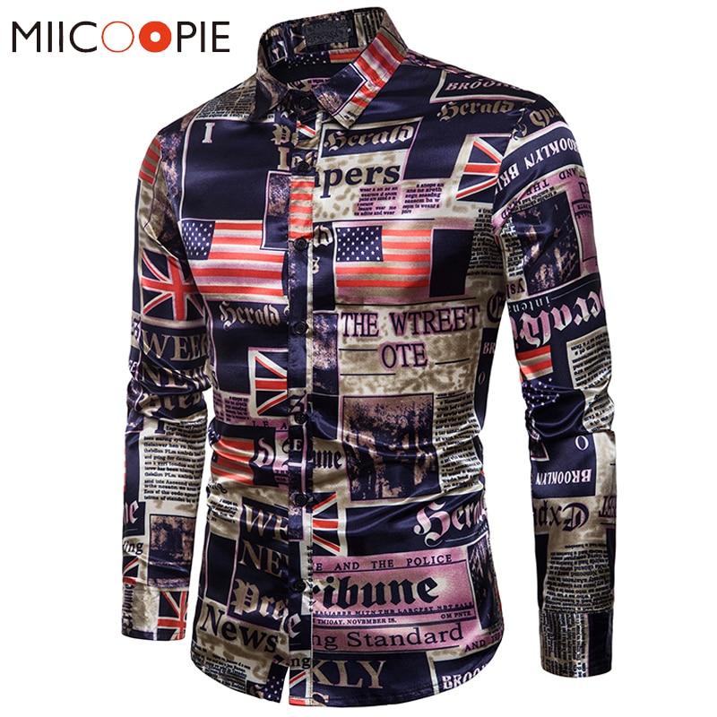 Men Silk Shirt 2018 Fashion Autumn Smooth Fabric Casual Multicolor Flag Print Dress Shirts Camisa Social Masculina