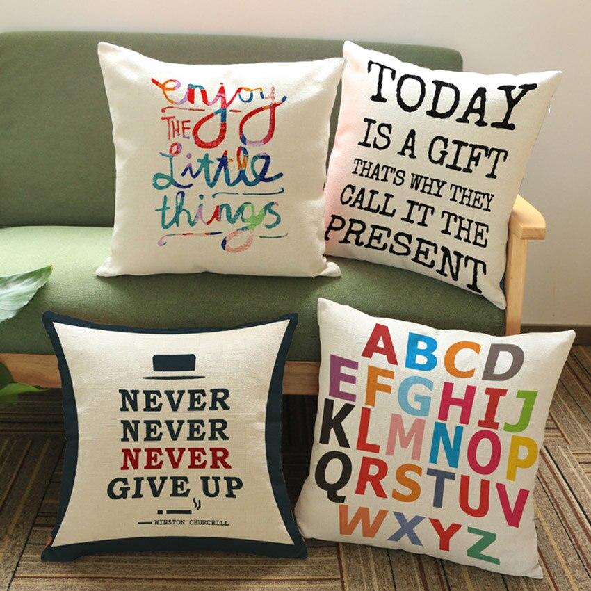 ><font><b>Nordic</b></font> <font><b>Letters</b></font> Print Cushions Home Decor Outdoor Sofa Cotton Linen Decoration Pillows for home Concise European <font><b>Style</b></font> 45x45cm