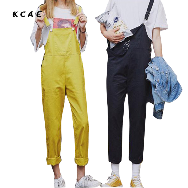 Fashion Couple Summer Bib Overalls Joggers Pants Men Slim Suspenders Pants Male Casual Black and Yellow Jumpsuit Ankle Length summer fashion cool men s denim overalls casual man jeans suspenders men jumpsuit bib pants for male plus size 28 46