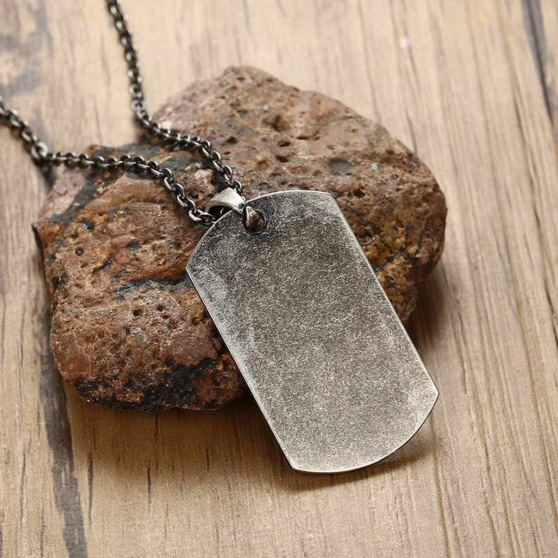 US Military Dog Tag Pendant Necklace for Men Stainless Steel United States Oxidation Gray Metal Male Jewelry 20 inch