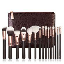 Профессиональный Брендовые щётки для макияжа комплект роскошные косметические Инструмент Роза Золотая кисть комплект смесь с кожаная сумка