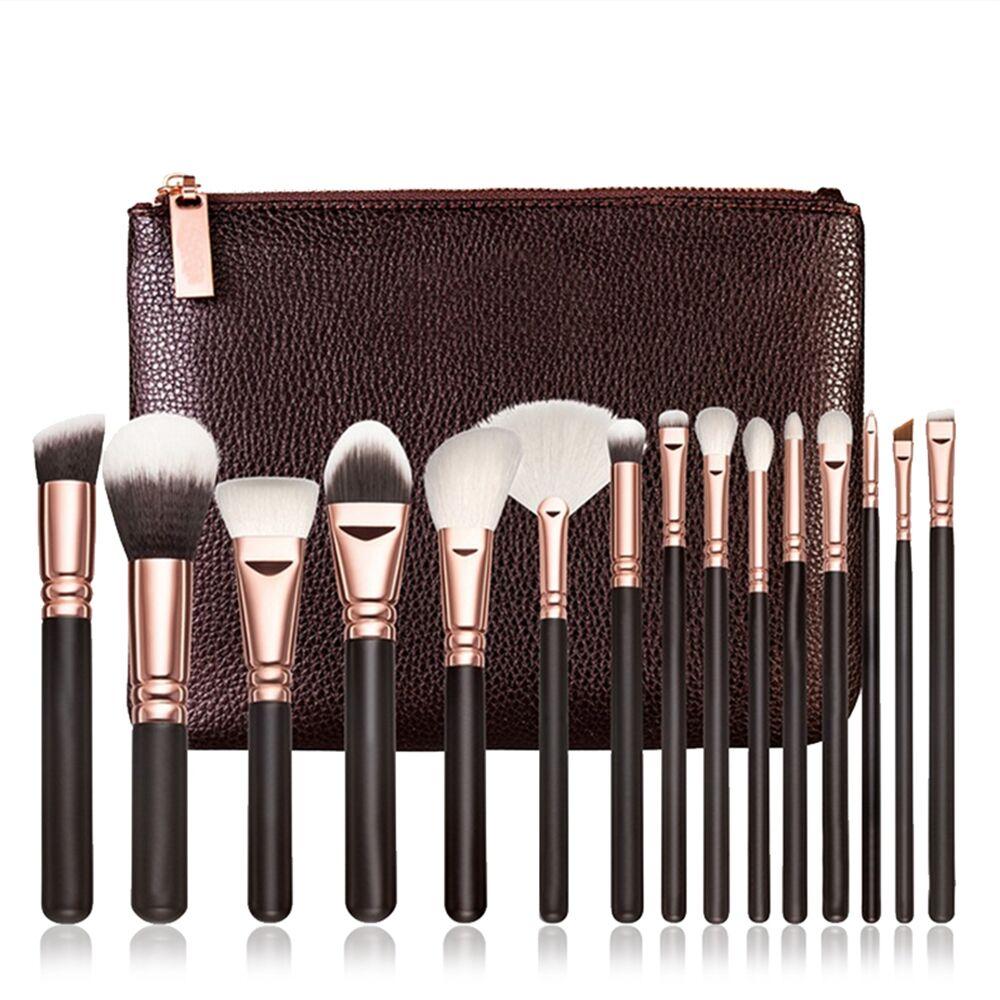 Professionale Pennelli da trucco di marca set completo di lusso strumento di cosmetici rosa d'oro corredo della spazzola miscela con il sacchetto di cuoio