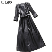 2016 New design Hot sale Western style Faux Leather Long Lady PU Figure flattering Fashionable Women Leather Trench 3XL