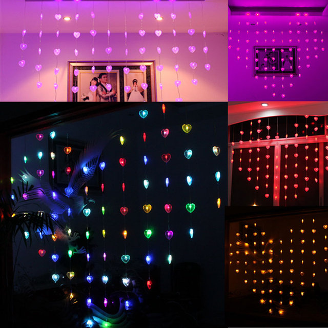 eu plug 15m love heart shape led string lights valentine day strip lamp room curtain - Valentine String Lights