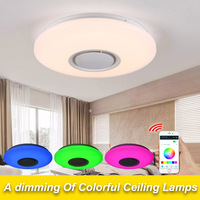 Music LED Ceiling Light With Bluetooth Control Color Change Lighting Flush Lamp For Bedroom Ceiling Light
