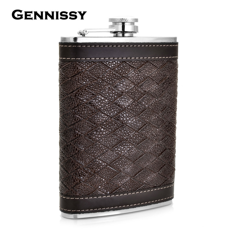 GENNISSY Personalized Alcohol Flask 9 oz Grid Pattern PU Leather - Kitchen, Dining and Bar