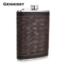 GENNISSY Personalized Alcohol Flask 9 oz Grid Pattern PU Leather Stainless Steel Mini Hip Flask Camp Outdoor Portable Hip Flask