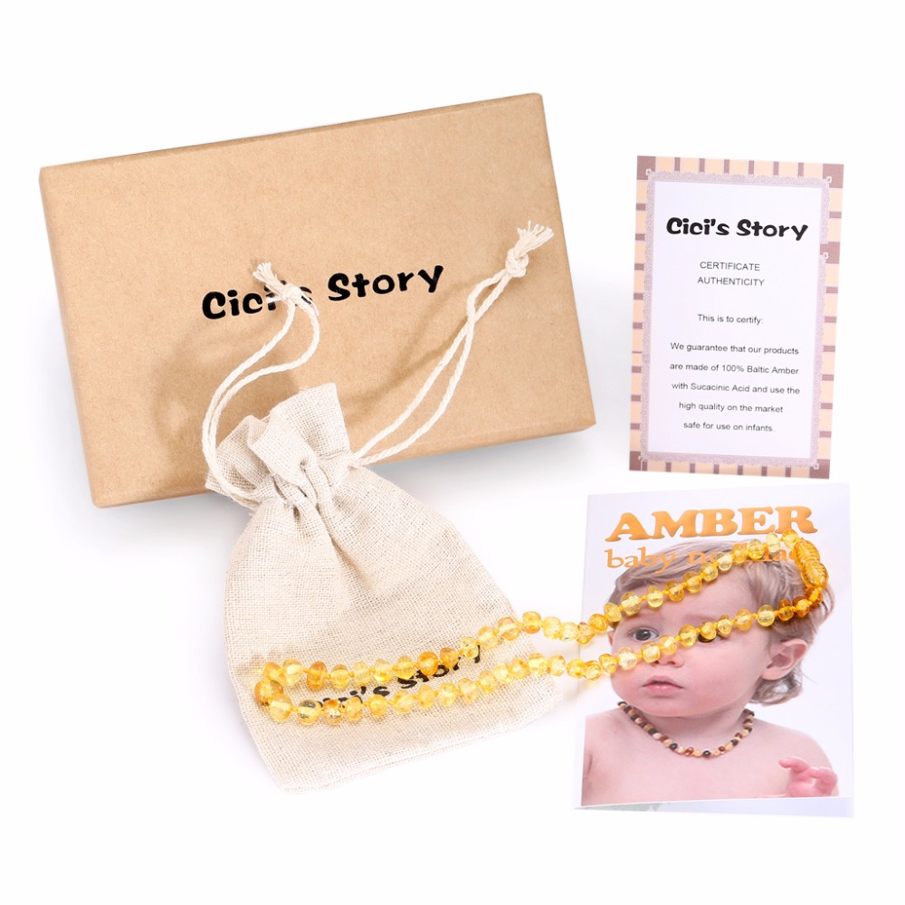 Collar / pulsera de dentición de ámbar báltico para bebé (limón) - Joyas - foto 3