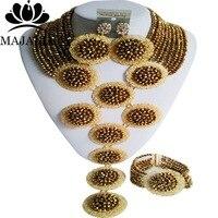 Majalia Luxury Golden color African Beads Jewelry Set Crystal Bea Bride Jewelry Nigerian Wedding Beads Jewelry Sets 10CP005