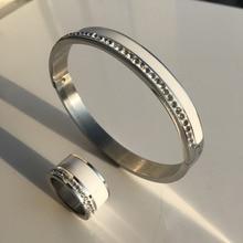 Ceramic Jewelry Set Stainless Steel Wedding Trendy Bridal 18k Rose Gold Crystal Rhinestone Female Bangle Ring Set For Women