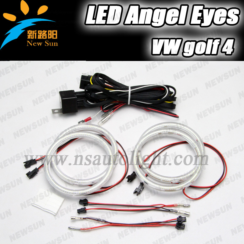 ФОТО Free shipping 2016 New design for Golf 4 angels eyes headlight Led angel eyes,43W high power 3014 chip led halo ring kits
