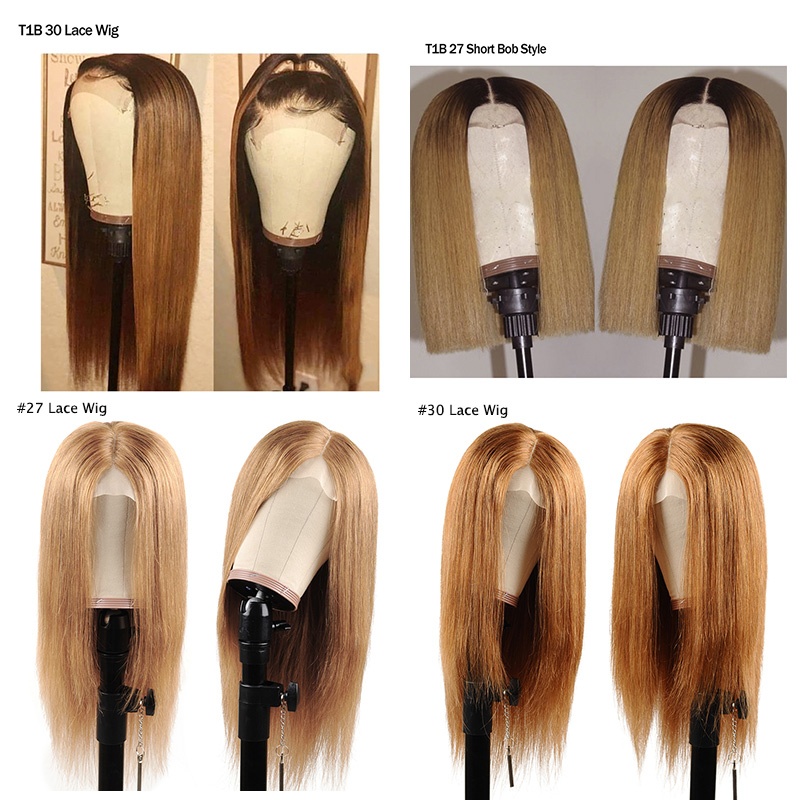 Image 5 - I Envy Blonde Lace Front Human Hair Wigs For Black Women Ombre Human Hair Wigs Straight Peruvian Honey Blonde Wigs #30 Non Remy-in Lace Front Wigs from Hair Extensions & Wigs