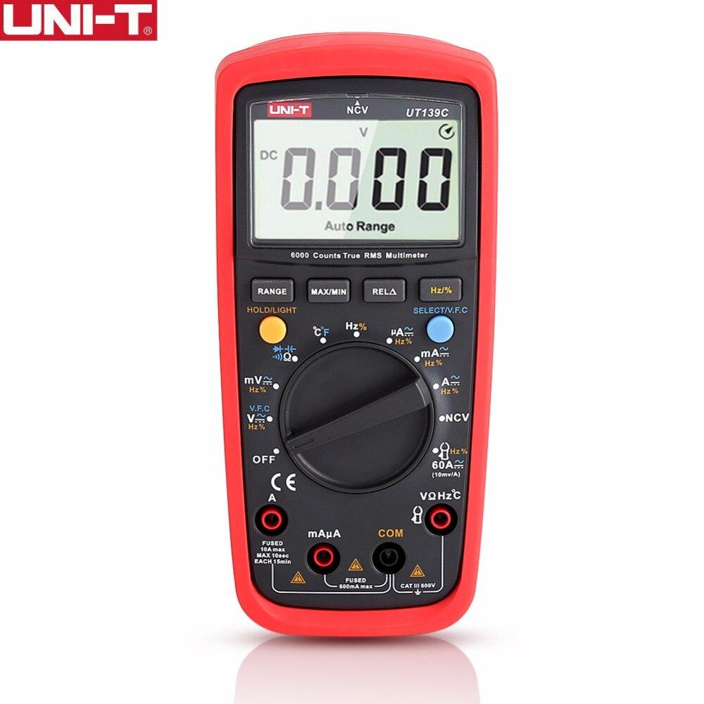 UNI-T UT139C Digital Multimeters Meter Multimeter auto range true RMS Peak value AC/DC amperemeter uni t ut205 ture rms auto manual range digital handheld clamp meter multimeter ac dc voltage aca test tool