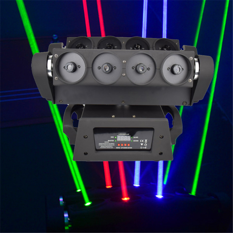 8 Eyes Spider Light RGB Laser Spider Lights Professional Moving Head Laser Beam Light DMX512 Control DJ Disco Stage Lighting