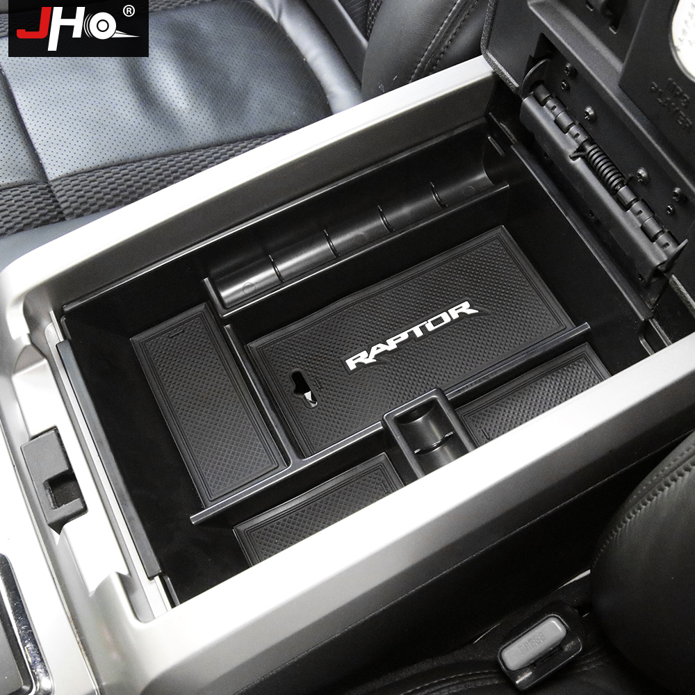 JHO Central Armrest Box Storage For Ford F150 Raptor 2011 2018 12 13 2014 2015 2016