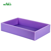 Super Big Size Silicone Soap Mold Flexible Rectangular Toast Mould with Wooden Box 19x12