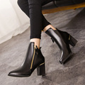 Winter Pointed Toe Martin Boots Thick With Ladies Short Motorcycle Boot Ankle Women's Shoes Pu Leather High Heels Chelsea Botas