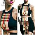 2016 verão sexy Mulheres Sets top + saia vestidos para as mulheres sem mangas preto Africano tradicional tricô splicing batiks