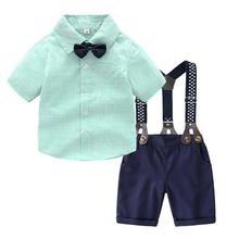 Fashion Infant Baby Boys Gentleman Bow Tie T-Shirt Tops+Stars Shorts Overalls Outfits недорого
