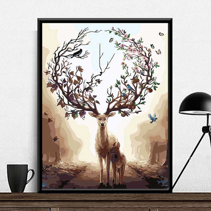 Painting By Numbers DIY Dropshipping 40x50 50x65cm Forest deer and son Animal Canvas Wedding Decoration Art picture Gift