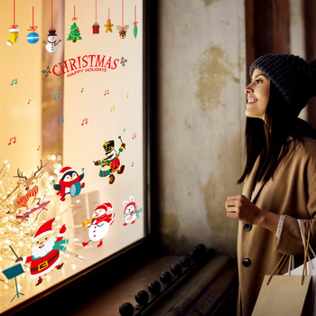 Christmas Wall Sticker Christmas Wall Decal PVC Cute Christmas Wallpaper Display Window Home Decor Background Cartoons Shop tassels pillow