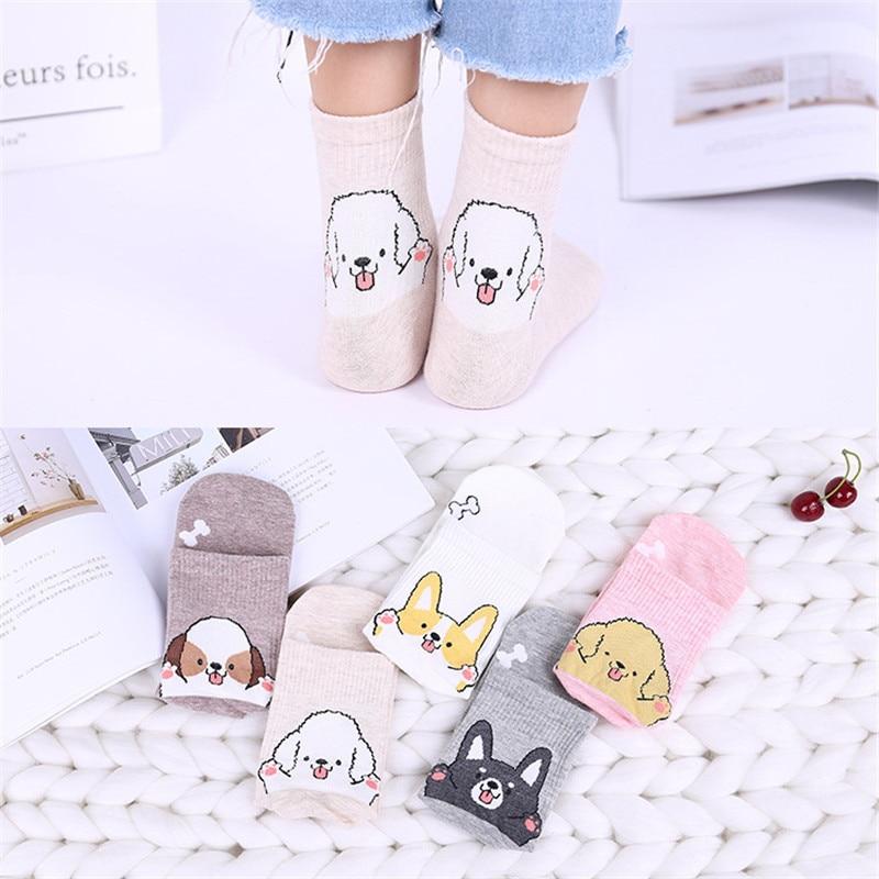 Summer Spring Fashion Cartoon Women Socks Dog Pattern 3D Animals Style Funny Cute Cotton Socks Lady Floor Socks for Female