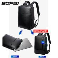BOPAI 브랜드 분리형 2 1 노트북 백팩 USB 외부 충전 어깨 도난 방지 백팩 남성용 방수 배낭