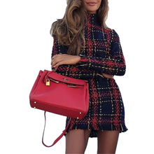 hot deal buy autumn and winter basic slim plaid woman mini dresses fashion style stand collar long sleeve plaid sheath mini dresses