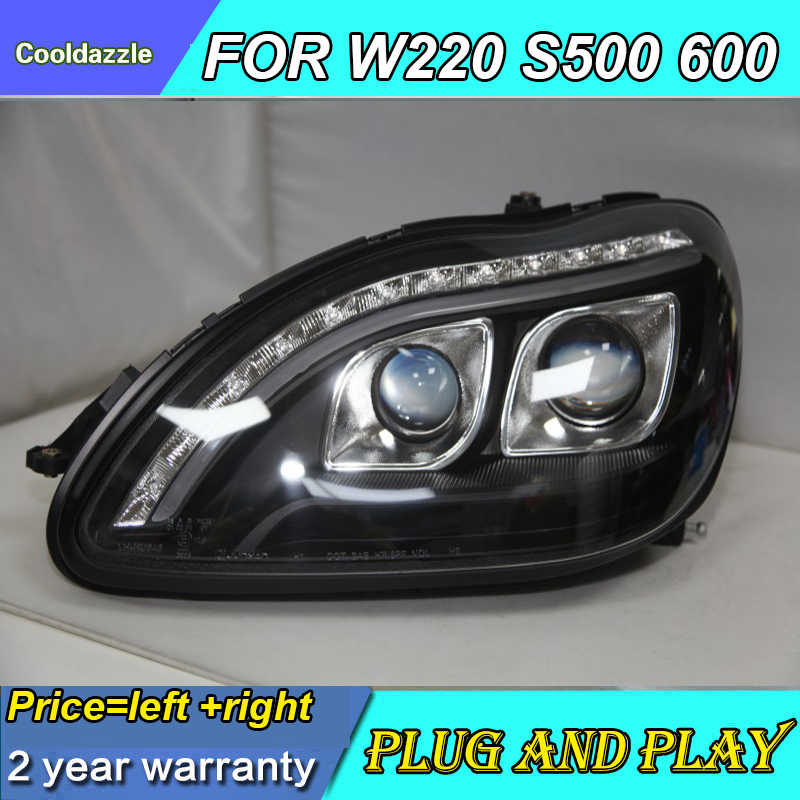 LED Head Lamp For Mercedes-Benz W220 S280 S320 S500 S600 1998 1999 2000 20012002 2003 2004 2005 Year Front Lights With DRL