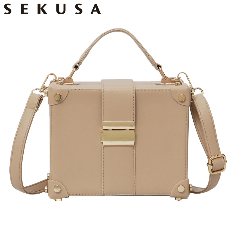 цена на SEKUSA Fashion PU Women Box Design Clutches With Chain Shoulder Handbags Leather Causel Party Wedding Bridal Evening Bags