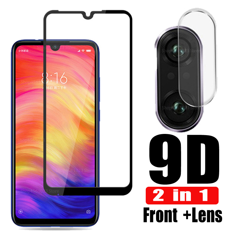 2in1 Camera Glass For Redmi Note 7 Tempered Glass Screen Protector For Xiaomi Redmi Note 8 7 6 Pro 6A Mi 9 SE 8 A2 Lite 9T Glass