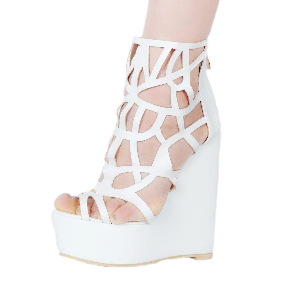 5bc741cfde2 Original Intention Super Elegant Women Sandals Fashion Platform Peep Toe  Wedges Heels Sandals White Shoes US Size 4-15. Please Refer to Our Sizing  Info When ...