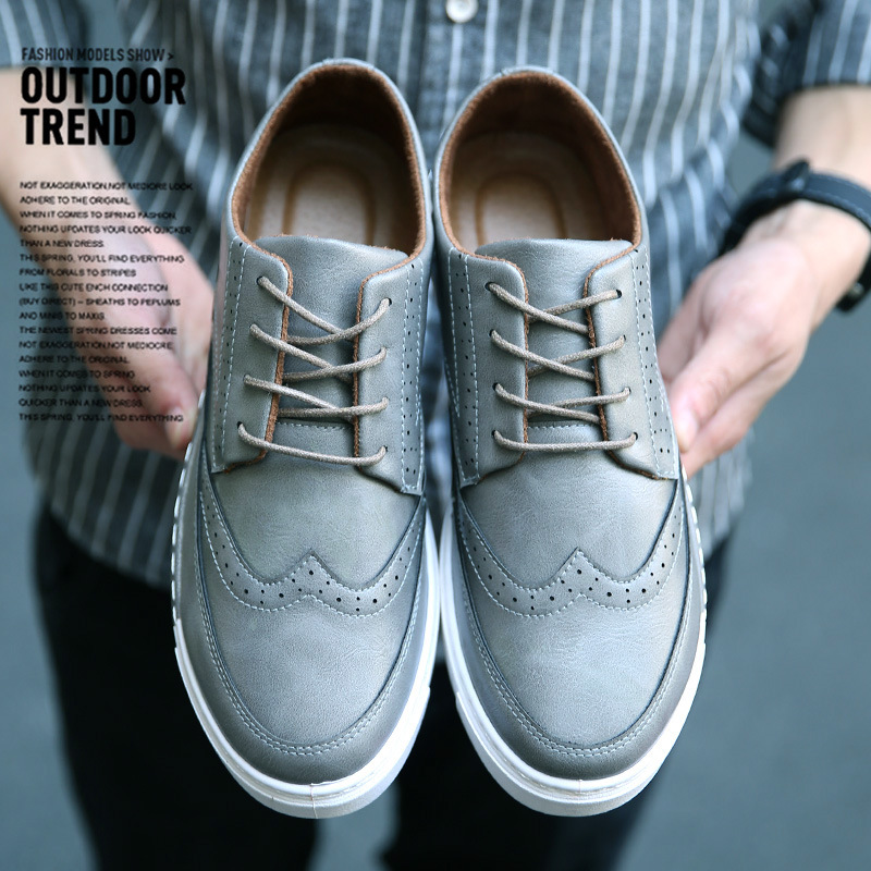 ФОТО 2017 New Hot sell Brogue shoes Men Lace-up Casual Shoes leather Fashion Breathable Walking Flat Shoes