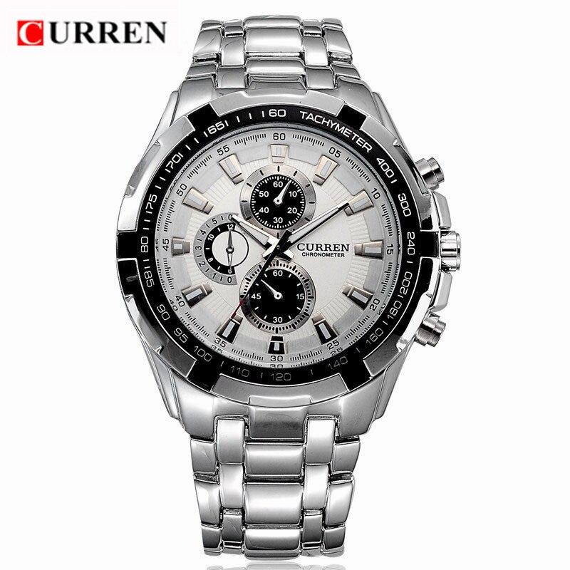 Prix pour Curren 8023 hommes montres top marque de luxe en acier plein quartz hommes montre mode casual male militaire sport horloge relogio masculino