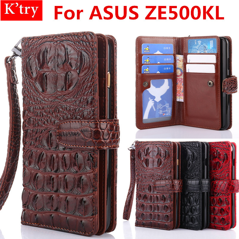 For ASUS Zenfone 2 Laser ZE500KL Luxury 3D Crocodile Leather Wallet Flip Cover Case For ASUS ZE500KL Mobile Phone Case