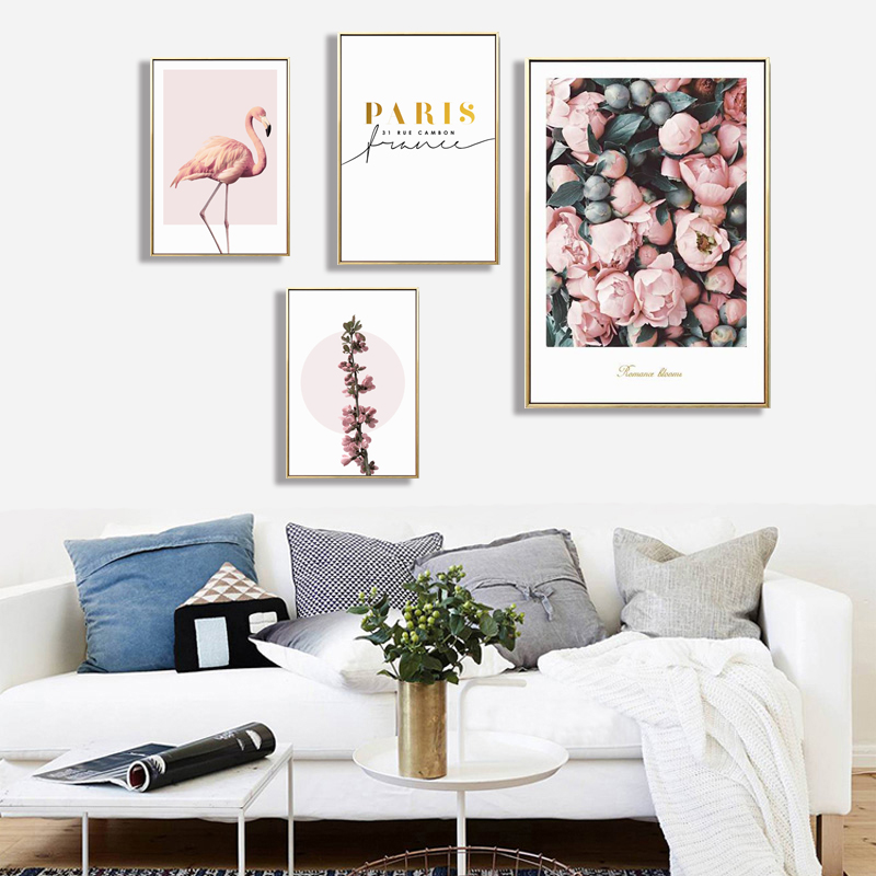 Pink flamingo print canvas painting Decoration Painting Home Decor On Canvas Modern Wall ...