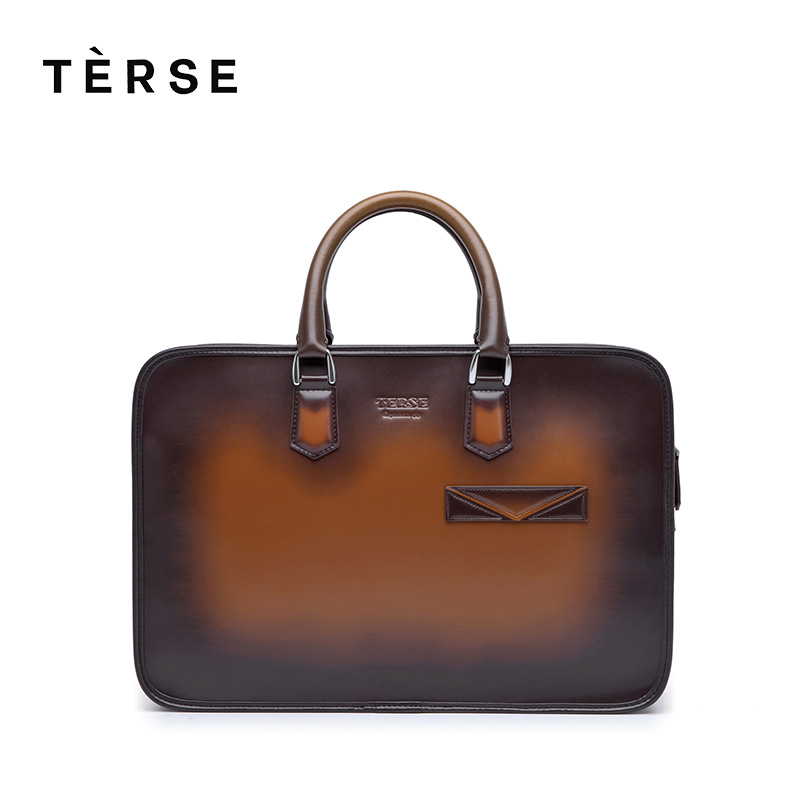 TERSE Genuine Leather Briefcases Men New Simple Fashion Business Briefcase Handmade Handbag Shoulder Messenger Bag Men 9625