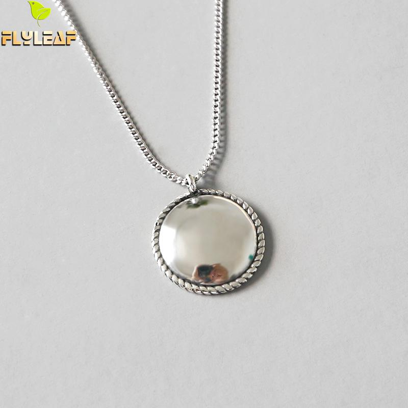 Flyleaf 925 Sterling Silver Necklace Women Vintage Hemp Lace Round Tag Fashion Chain Fine Jewelry Simple Necklaces & PendantsFlyleaf 925 Sterling Silver Necklace Women Vintage Hemp Lace Round Tag Fashion Chain Fine Jewelry Simple Necklaces & Pendants