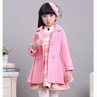 Girls Woolen Clothes 2 PCS Set Kids Tweed Overcoat + Plaid Vest Dress Fall Winter Children's Woollen Jacket + Dresses Twinset P4
