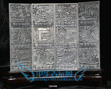 Chinese Boutique collection Tibetan silver carving Twelve filial piety folding screen