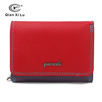New Brand Genuine Leather Ladies Wallet Zipper And Hasp Purse Small Coin Purses Women Three Fold