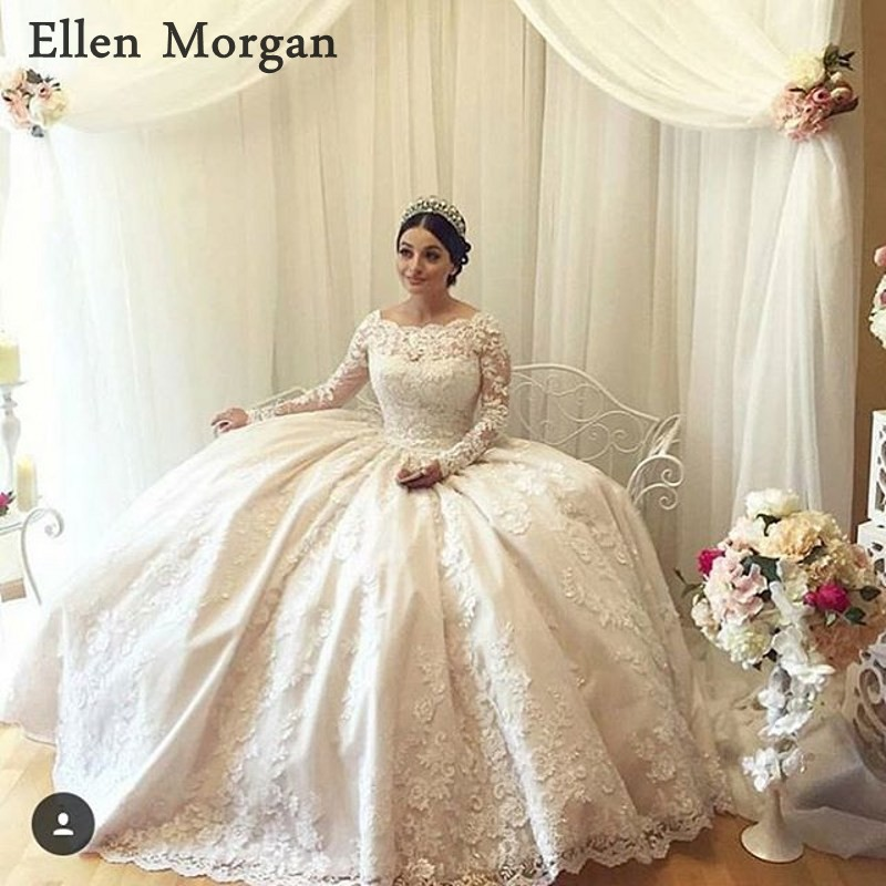 Vintage Long Sleeves Ball Gowns Wedding Dresses 2019 Vestido De Noiva Lace Floor Length Cover Back Real Photos Bridal Gowns