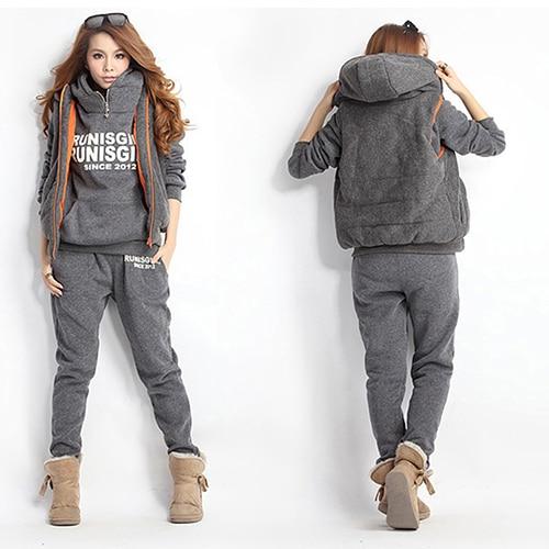 Winter Suit Women Sweatshirts+Waistcoat+Pants Tracksuit Hoodie 3 Pcs Set
