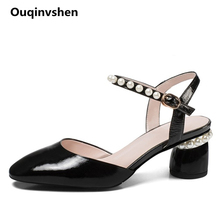 Ouqinvshen String Bead White Fetish High Heels Big Size 34-42 Round Toe Classics Fashion Summer Sandals Genuine Leather Shoes