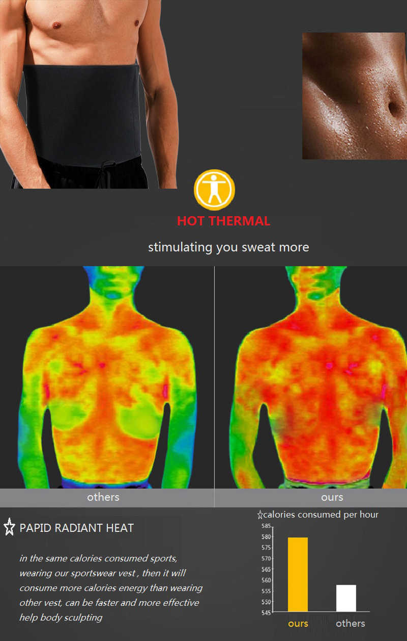 fb62b7103a4 ... NINGMI Hot Shaper Waist Trainer Men Compression Modeling Belt Neoprene  Sweat Sauna Suit Man Black Slimming ...