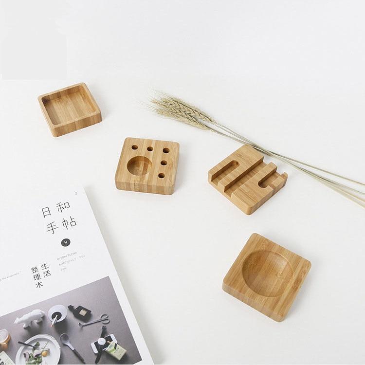 1 Pcs Creative desktop small items storage box bamboo material pencil box office supplies simple storage box 8*8*2CM