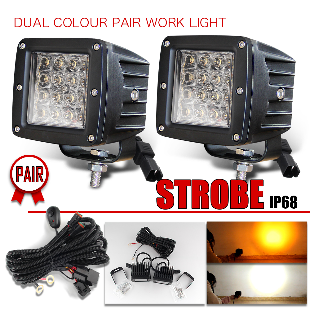 CO LUZ 12D 3 polegada Levou Worklight 24 w Auto Luzes de Nevoeiro de Flash Dual Color para Tractor Boat Off Road 4WD 4x4 Truck SUV ATV 24 12 v v