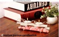 Szklana rurka (2 cote) świecznik na tealight świeczniki domu dinner table decor wedding party centerpiec x 2 pc (tylko szkło)