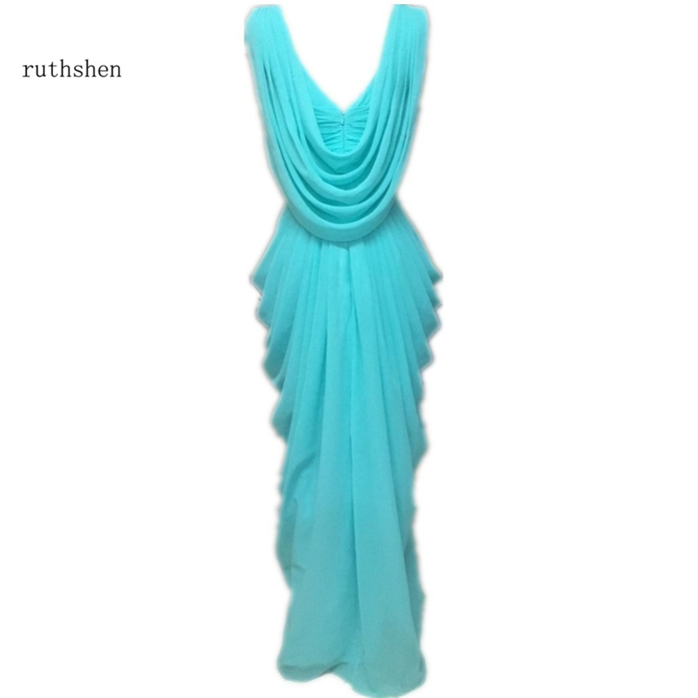 Online get cheap turquoise bridesmaids dresses aliexpress ruthshen teal turquoise bridesmaid dresses 2017 v neck drapped ruffles chiffon backless junior long ombrellifo Choice Image